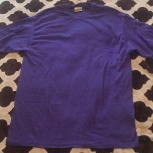 Large purple Hanes 50/50 short sleeved crew neck T